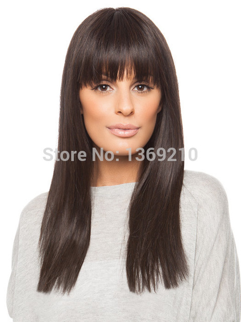 Soft Hair Long Straight Dark Brown Color Capless Synthetic Hair