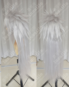 Image 4 - Anime Naruto Jiraiya Long White Ponytail Heat Resistant Sythentic Hair Cosplay Costume Wigs + Wig Cap