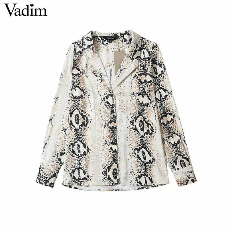 Vadim women vintage snake skin print blouse long sleeve animal pattern basic  shirt ladies casual chic 6aa7c60c0