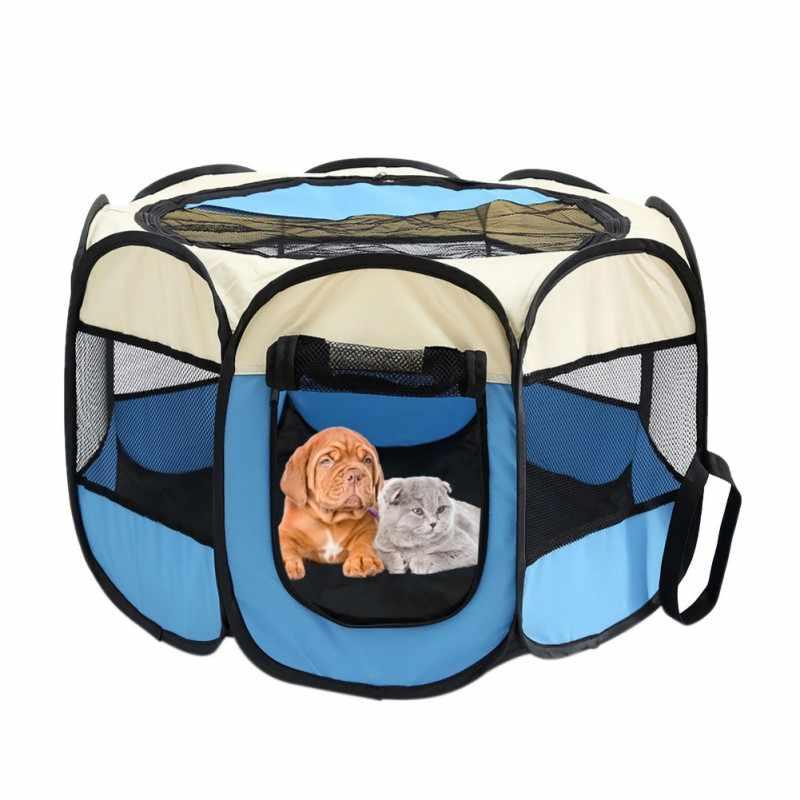 Портативный складной домик для животных собачий домик клетка шатер для собак для котов манеж Щенячий питомник легкая работа восьмиугольный забор снаряжение для путешествий