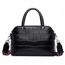 2019 New High Quality Women Leather Handbags Wide Strap Shoulder Bag Stone Pattern Crossbody Bags for Women Messenger Bag Bolsas цена