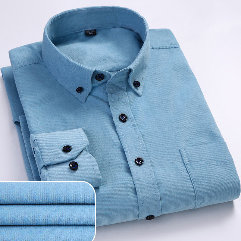 Plus Size 6xl Autumn/winter Warm Quality 100%cotton Corduroy long sleeved button collar smart casual shirts for men comfortable 2