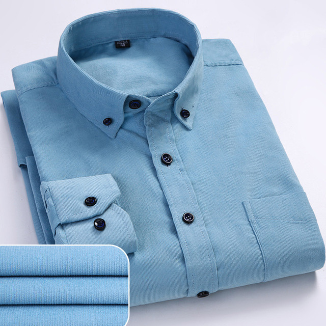 Plus Size 6xl Autumn/winter Warm Quality 100%cotton Corduroy long sleeved button collar smart casual shirts for men comfortable 3