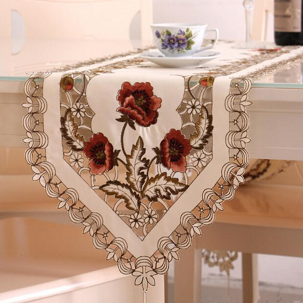 Yazi Vintage Embroidered Peony Satin Fabric Cutwork Wedding Banquet Table Runner Dresser Scarf 4 Size