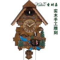Часы с кукушкой современный дизайн деревянная скульптура настенные часы цветным рисунком core музыкальный стены в детской комнате украшения