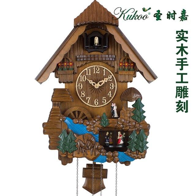 Kuckucksuhr Modernes Design Holz Skulptur Wanduhr Farbige Zeichnung Kern  Musik Wand Kinderzimmer Dekoration