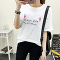 Hot sale Summer fashion women loose print  short-sleeve Cartoon Cat ears Casual Tops O-Neck Plus size T-shirts