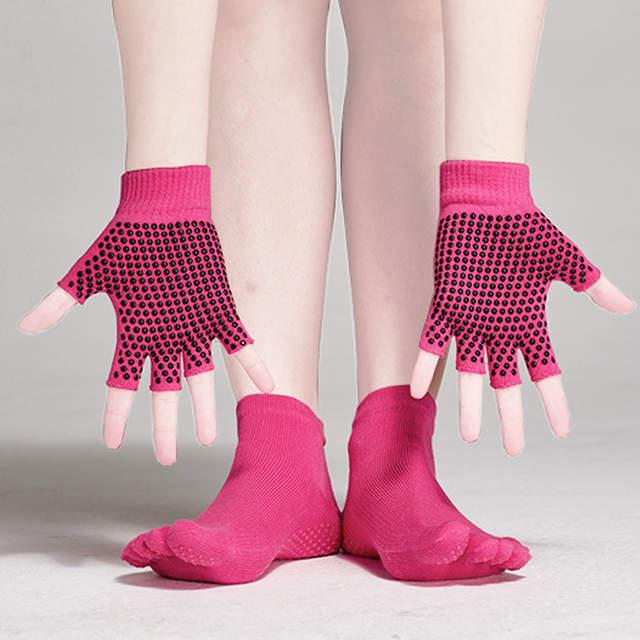 c04425bec placeholder Yoga pilates meias barre e luvas conjunto antiderrapante com  aderência para a mulher de fitness luva