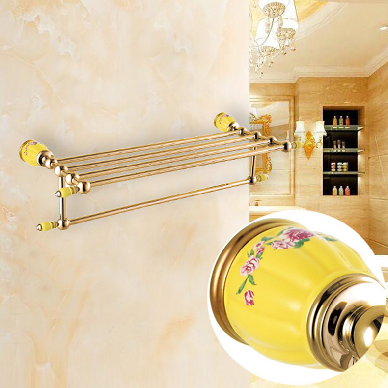 HOT SELLING High Quality Bathroom towel holder with Ceramic Base, Gold Brass towel rack,60cm towel bar,towel shelf