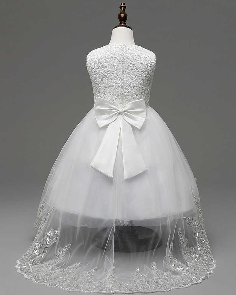ANGELSBRIDEP חמוד גבוה נמוך שמלות ילדה פרח אפליקציות Bow תחרת שמלות ערב ילדים בנות שמלות הקודש הראשונה