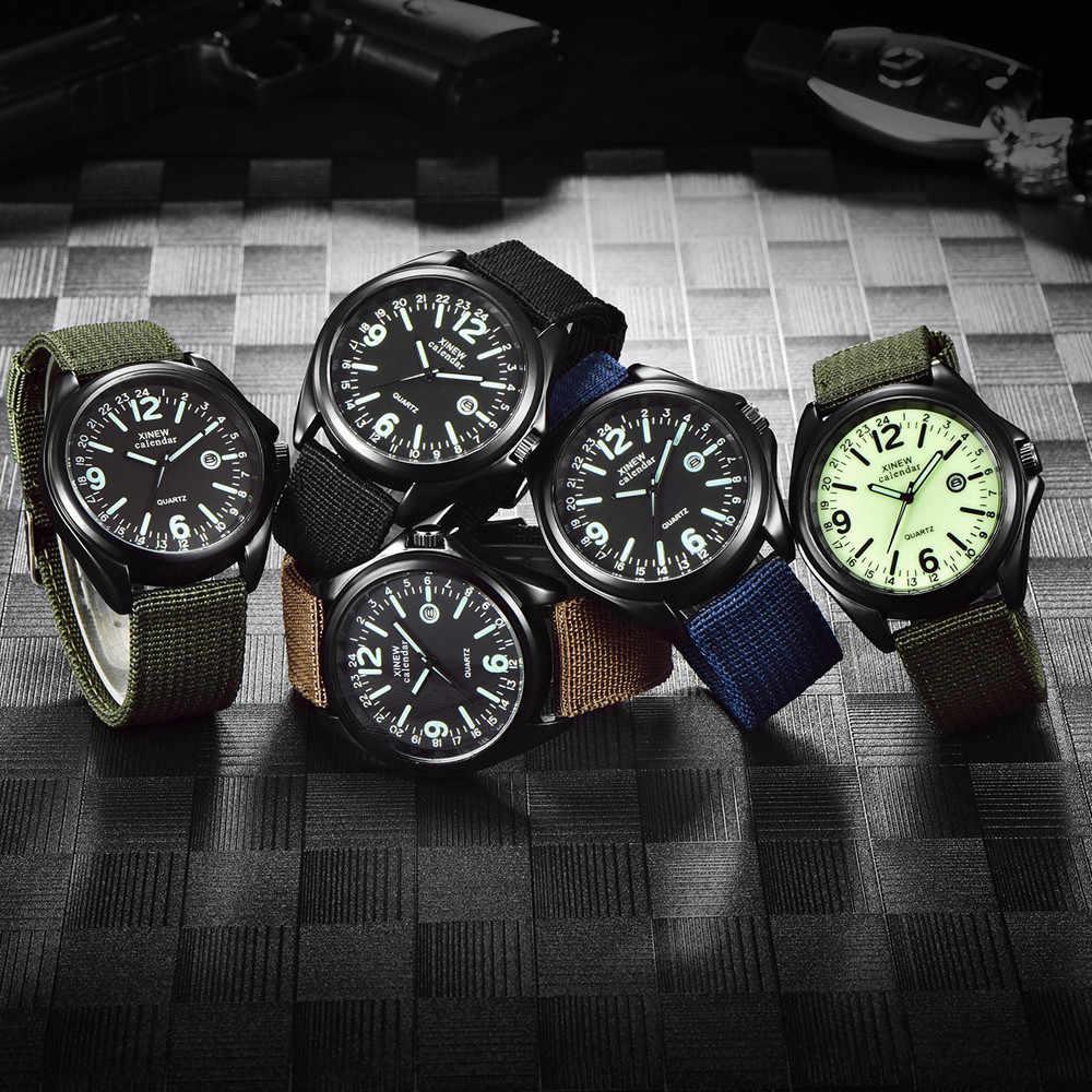 Luminous Marke Männer Datum Quarzuhr Armee Soldat Military Nylon Strap Analog Uhren Sport Uhr Armbanduhren часы мужские