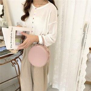 Image 4 - Новые круглые сумки через плечо для женщин, новинка 2019, сумка мессенджер через плечо из искусственной кожи, женские сумки на цепочке, женская сумка