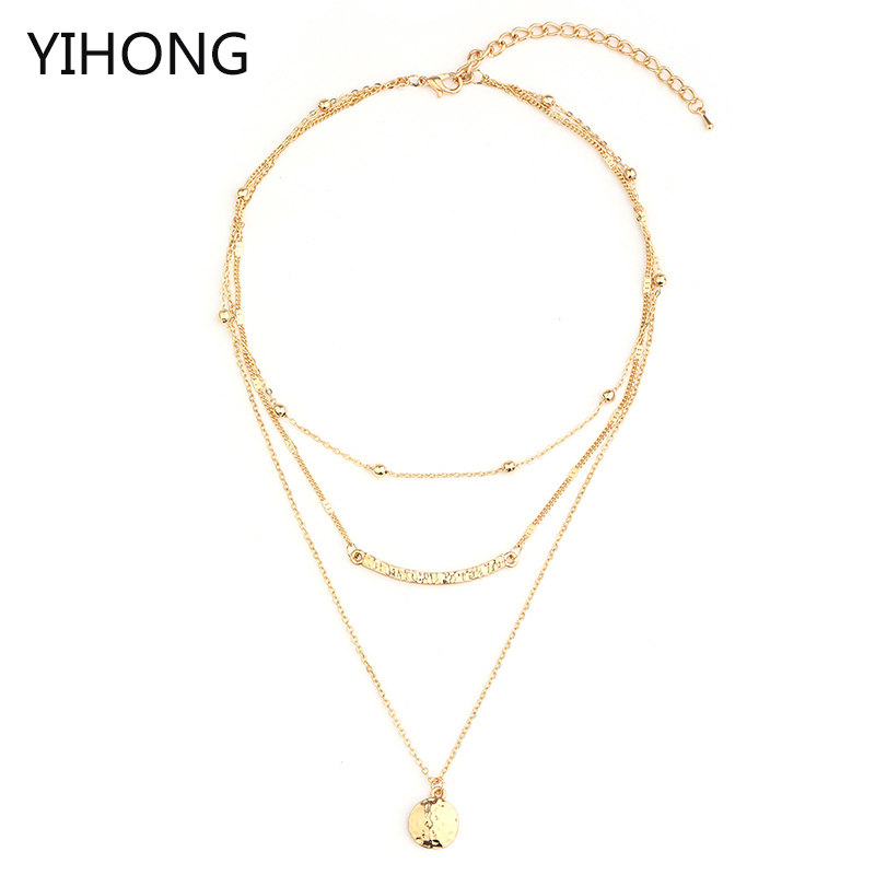 Curved Bar &  Round Pendant Beaded Layered Necklace Gold Color Multilayer Chain Collar for Women Jewelry Fashion Bijoux