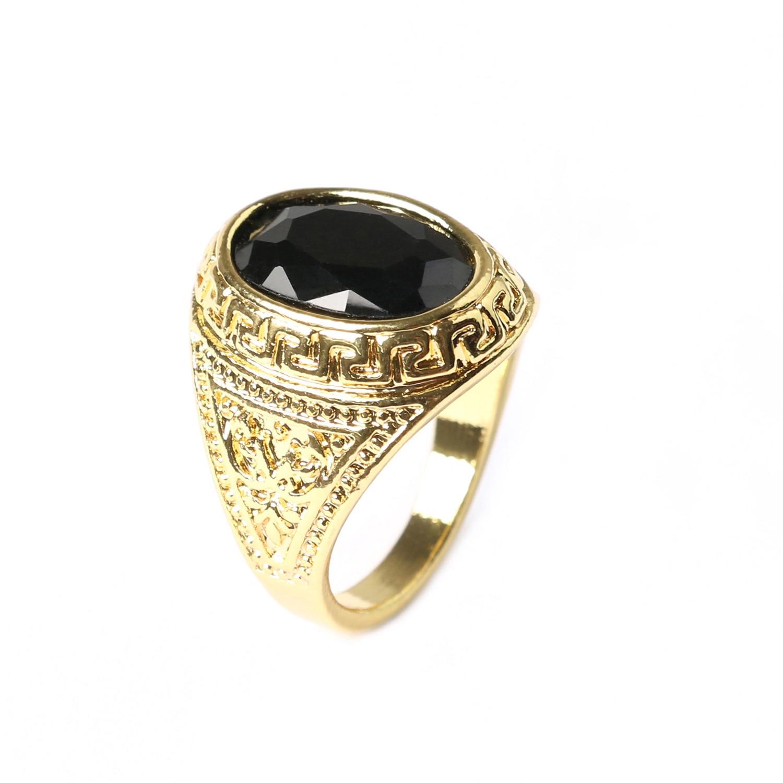 NºAntiguo grande dedo Anillos con piedra negro para los hombres oro ...