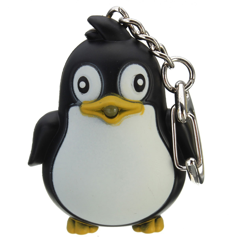 Cute Animal Penguin LED Light with Sound Key Chain Key Ring Torch Xmas Gift