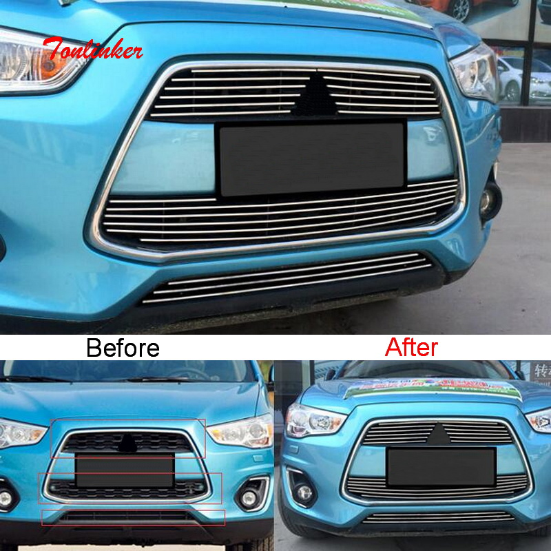 Tonlinker Front Racing grills Cover Case Stickers for <font><b>Mitsubishi</b></font> ASX 2011-19 Car styling 2-4 PCS Stainless Steel Cover sticker image