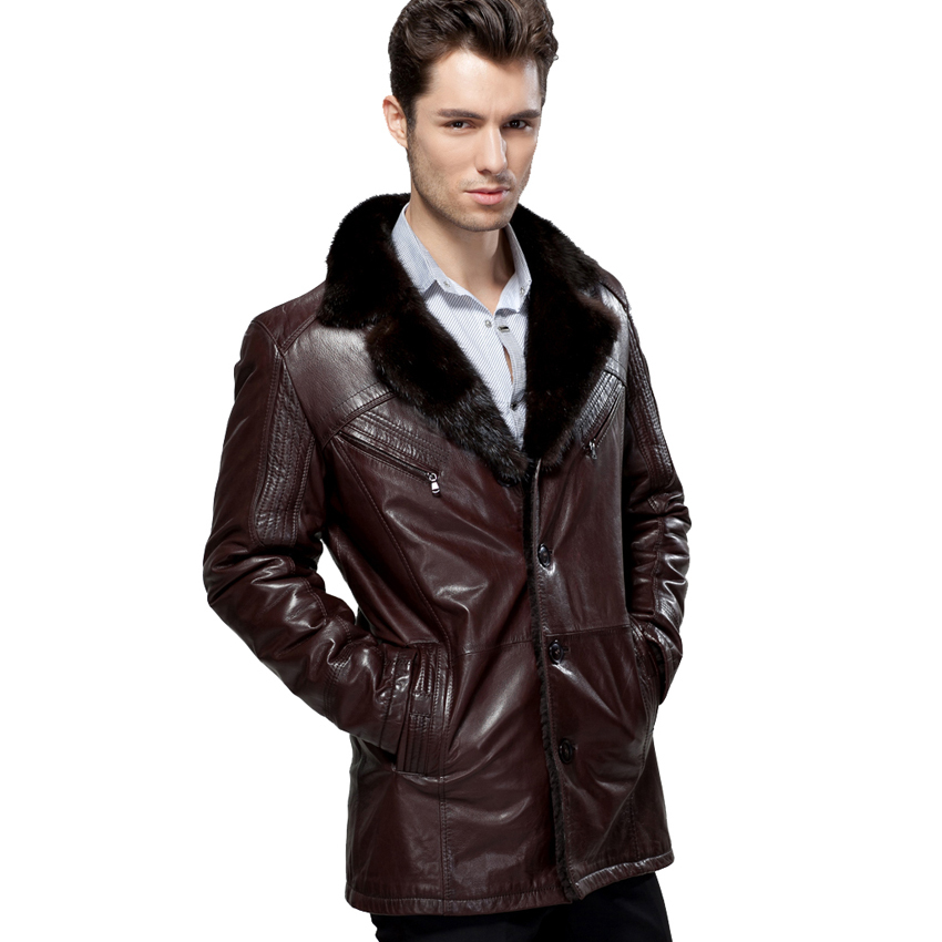 2017 Real Sheepskin Wool Mink Hair Collar Casual Men's 100% guaranteed genuine leather Fur Overcoat Outerwear Jacket Clothing