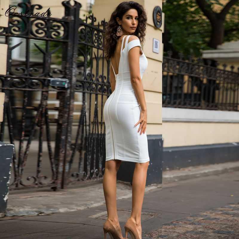 Livraison gratuite Ocstrade Sexy blanc robe moulante pour les femmes 2019 nouveauté été hors épaule genou longueur pansement robes de soirée