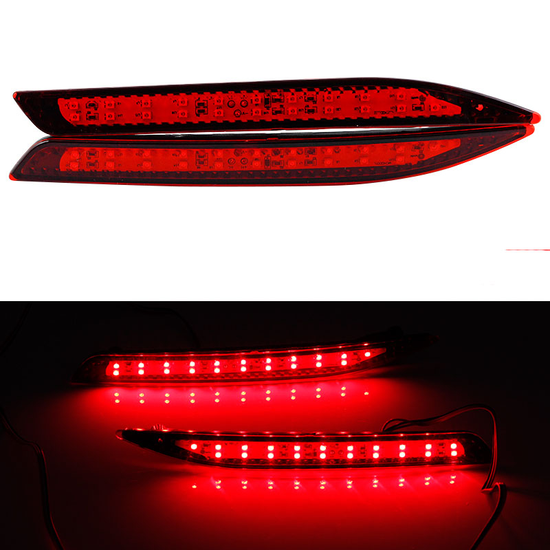 2pcs Car Warterproof LED Rear Bumper Reflector Round Red Parking Warning Stop Brake Lights Tail Fog Lamp For Honda Accord 9th okeen brand automobiles rear lihgts car led light bar tail rear bumper reflector lights parking lights for 2009 honda crv