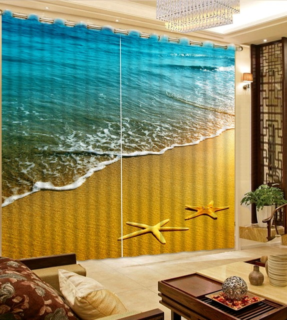 Modern Sheer Curtains Photo 3D Starfish Beach Curtain Fashion Fabric Living Room