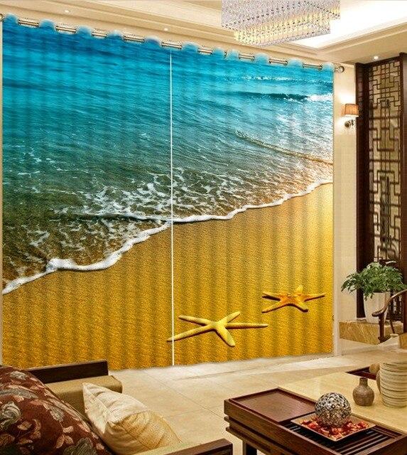 US $61.2 49% OFF Moderne Gardinen Foto 3D Starfish strand Vorhang Mode  Stoff Vorhang Wohnzimmer Vorhänge in Moderne Gardinen Foto 3D Starfish  strand ...