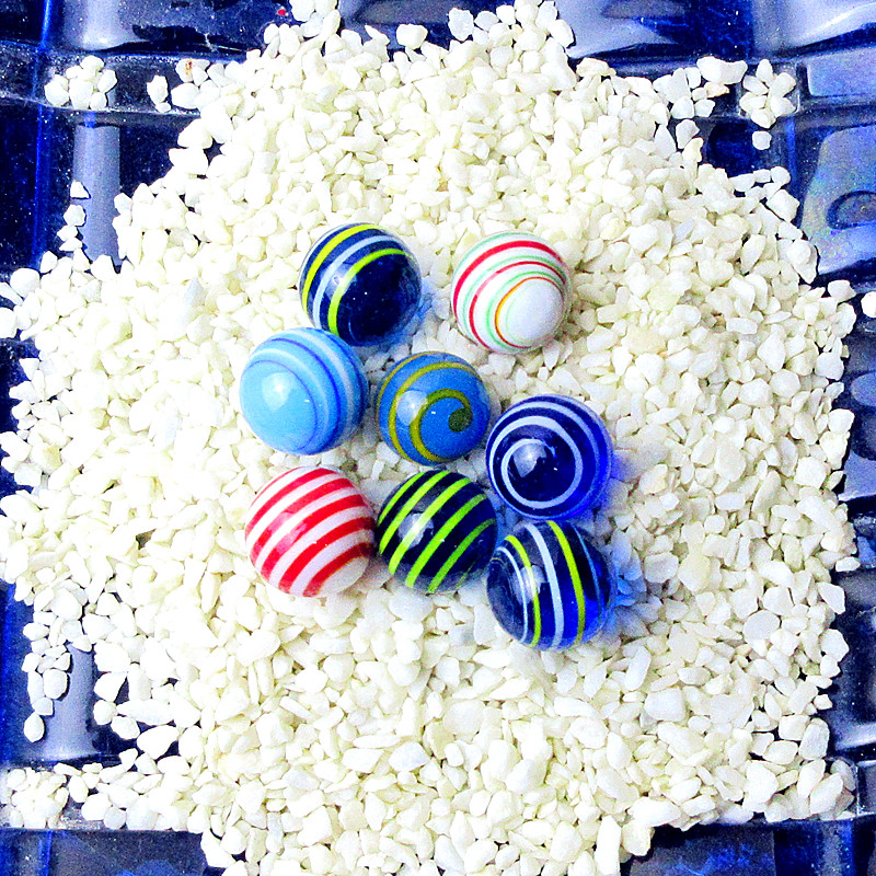 24pcs Custom Multi Color Stripe Pattern Hand Made Murano Glass Marbles Ball Ornament Charms Game Toys For Children