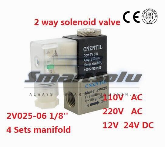 Pneumatic PT1/8 1/8 bsp Normally Closed 2/2 Way Air Solenoid Valve 2V025-06 DC 12V 24V AC 110V 220V