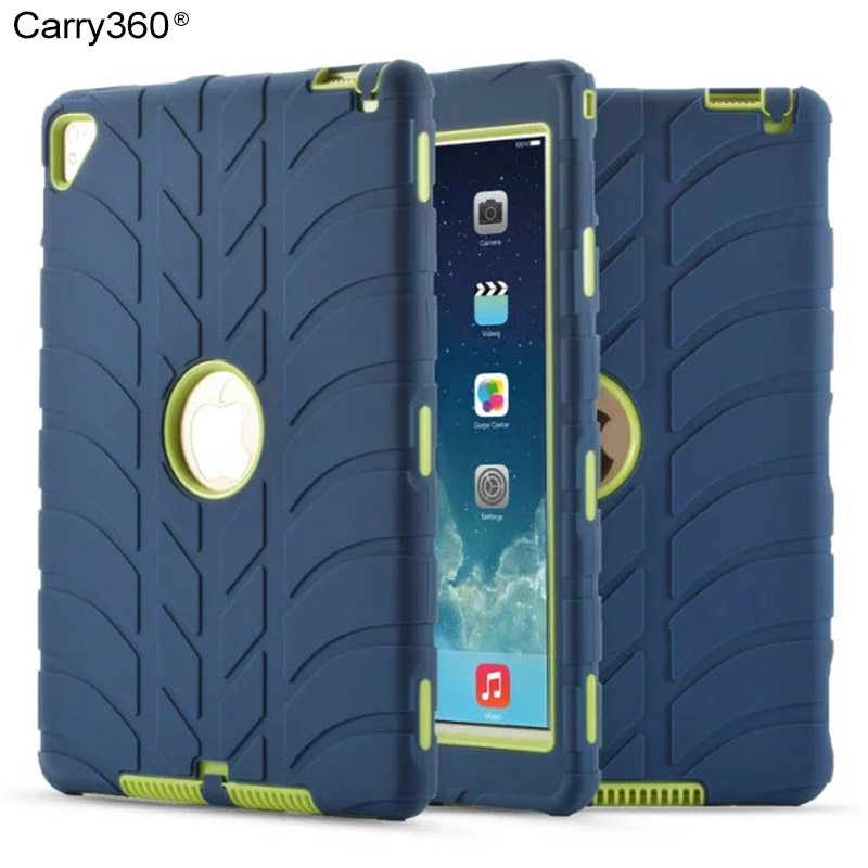 Carry360 New For iPad Air 2 Case Kids Silicone Heavy Duty Armor Shockproof Full Body Protective Hard Cover for iPad Pro 9.7 inch armor heavy duty shockproof hard case for apple ipad air 2 full protection flip leather cover for ipad 6with auto wake sleep