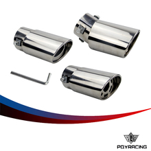 PQY Car Auto Round Exhaust Muffler Tip Stainless Steel Pipe Chrome Trim Modified Car Rear Tail