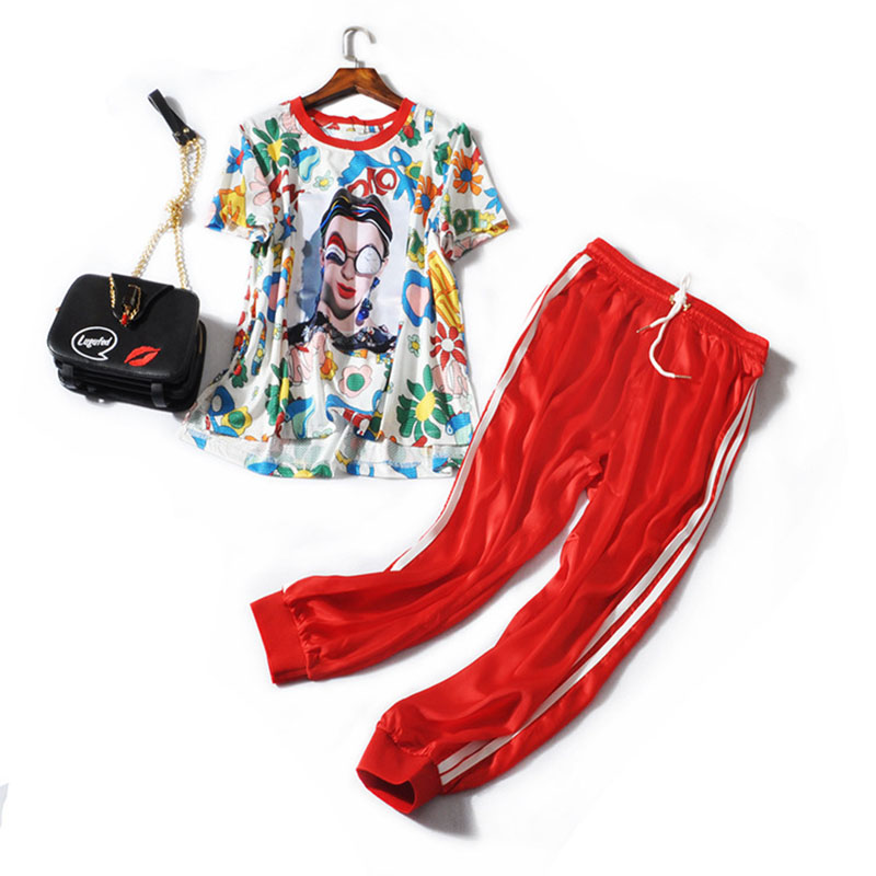 European And American New Fashion Women's Clothing T-shirt +Side Striped Pants Trousers Printing Women Set
