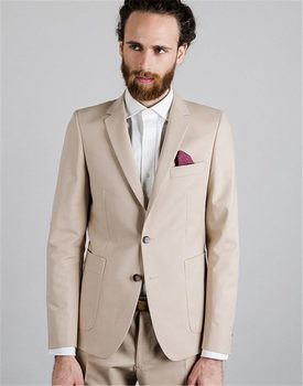 New Fashion Two Buttons Beige Groom Tuxedos Groomsmen Notch Lapel Mens Suits Blazers (Jacket+Pants+Tie) W:827