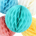 "6"" 8"" 10"" Tissue Paper Honeycomb Balls Flower Pastel Birthday Baby Shower Wedding Holiday Party Decorations"