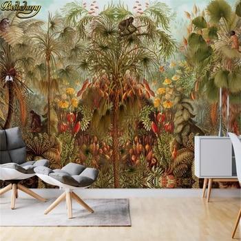 beibehang 3D Wall paper Tropical rainforest palm tree monkey Nature Landscape Mural wallpaper Living Room TV Backdrop Home Decor