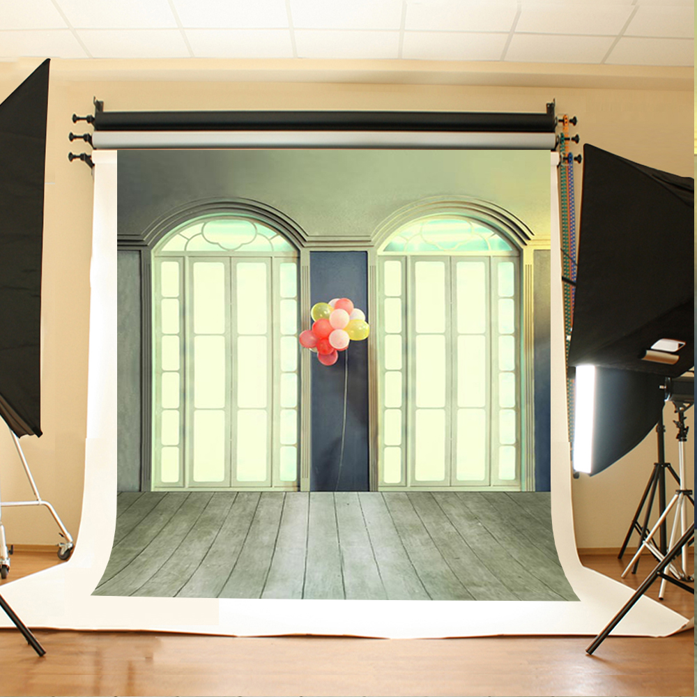 Color booth online - Wedding Photography Background Color Balloon Window Photo Booth Backdrops Light Wood Floor Background For Photography Studio