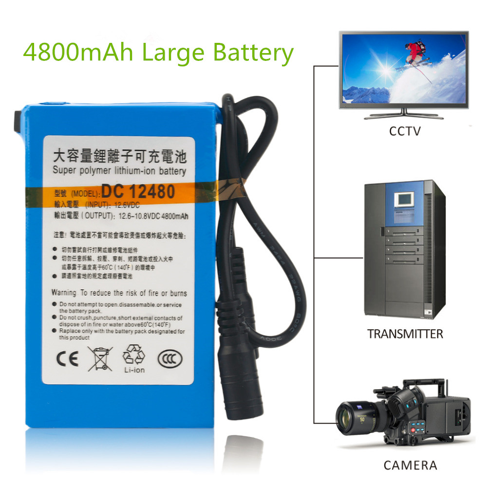 DC 12V 4800mah Super Large Capacity Rechargeable Li-ion Battery Durable Use Battery Charger for CCTV Camera Battery High Quality in 12 ah 856085 2 3 7v large capacity lithium polymer battery charger for mobile charging treasure rechargeable li ion cell