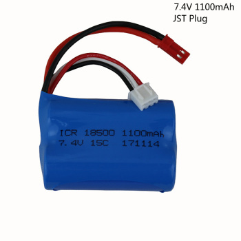 7.4V 1100mAH Lipo Battery For Remote control helicopter JST SM Plug Li-po battery 7.4 V 1100 mAH 15C discharge 18500 toy battery image