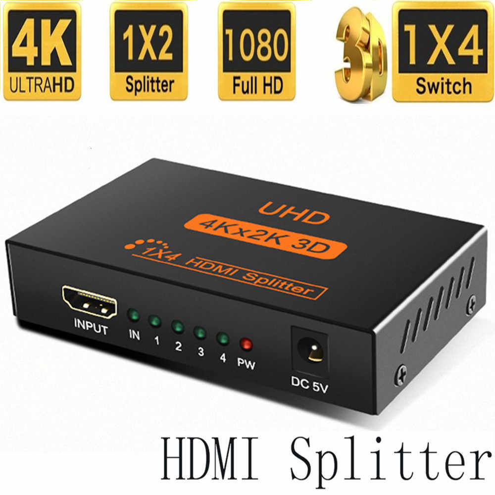 Ultra HD 4K HDMI Splitter 1X4 1X2Port 3D UHD 1080p 4K * 2K Video HDMI Switch Switcher HDMI 1 Eingang 4 Ausgang HUB Repeater Verstärker