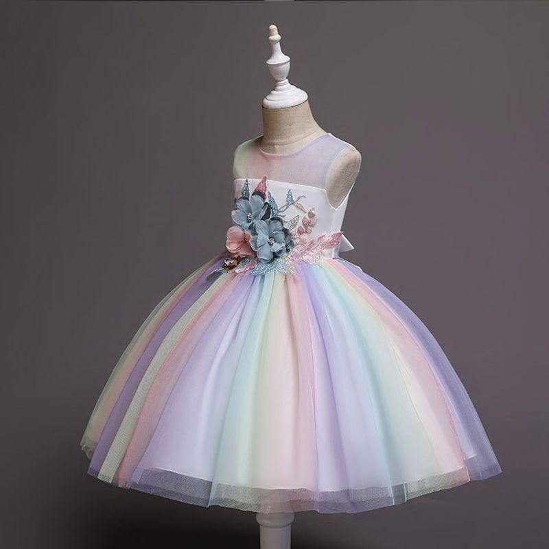 2019 New Kids Dresses Girls Princess Rainbow Dress Girls Dresses Party Wedding Dress Children Easter Carnival Costume Vestido in Dresses from Mother Kids