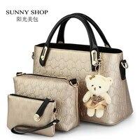 SUNNY SHOP 3 Bags/set W/bear toy Casual Embossed Designer Handbags Purse High Quality Women Messenger Bag Over the Shoulder Bags