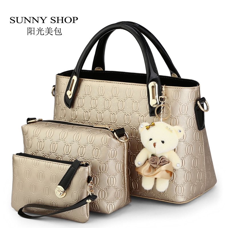 ФОТО SUNNY SHOP 3 Bags/set W/bear toy Casual Embossed Designer Handbags High Quality Women Messenger Bags American Shoulder Bags
