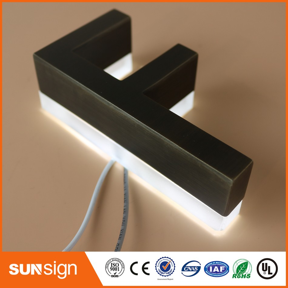 Outdoor Archaize Stainless Steel Led Sign Company Logo Lighting Signgae