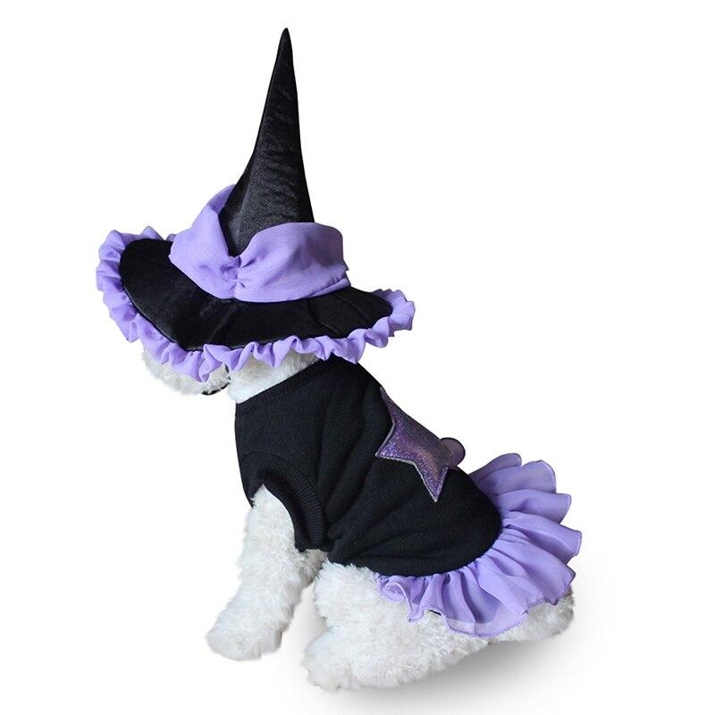 Halloween Pet Costume Pet Dog Clothes Dog Cat Witch Suit Coat & Hat Set Festival Fancy Dress Asian S-L