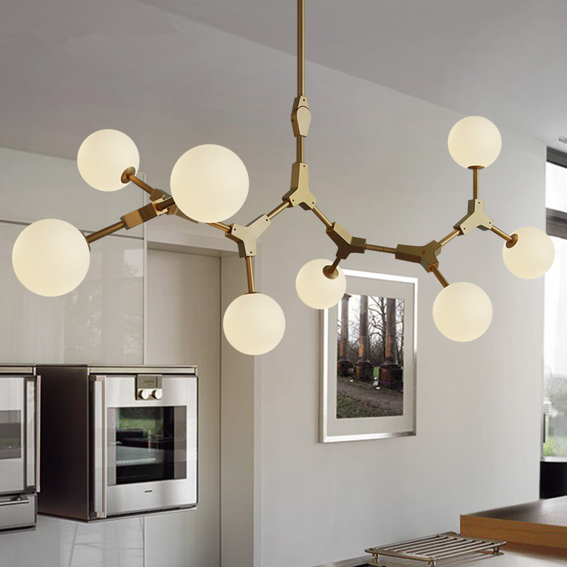Designer Nordic Creative DNA Modo Glass LED Lights American Art Restaurant Bar Bedroom Iron Branch Magic Bean Chandelier Lamp lukloy wall lamp lights modern modo magic bean double head branch sconce globes dna wall lighting