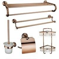Rose gold Wall Mount brass 5 Piece Bathroom Accessory Set Towel Bar Rack Toilet brush Paper Holder Clothes Hook shelf Basket