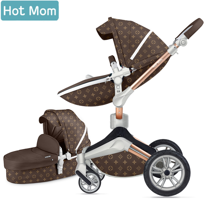 Hotmom baby stroller 2019  2in1 Ecological leather Four wheel shock absorption Russia Free ShippingHotmom baby stroller 2019  2in1 Ecological leather Four wheel shock absorption Russia Free Shipping