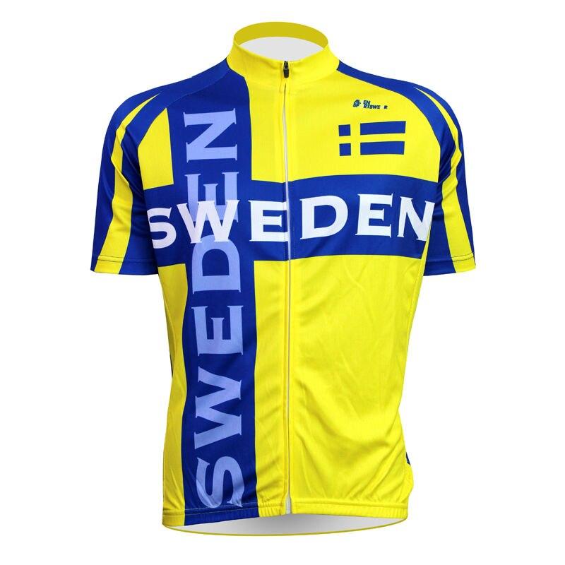 Alien SportsWear Sweden Flag Pattern Men Short Sleeve Bike Jerseys 100% Polyester Breathable Yellow Cycling 611c8cb31
