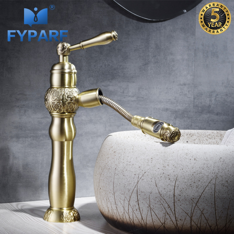 FYPARF Water Mixer Sink Faucet Pull Out Bathroom Faucet Single Handle Brass Cold and Hot Gold Brass Basin Mixer Bathroom Taps basin faucet split faucet soft jade gold brass made cold hot switch double handle bathroom shower room three hole mixer taps