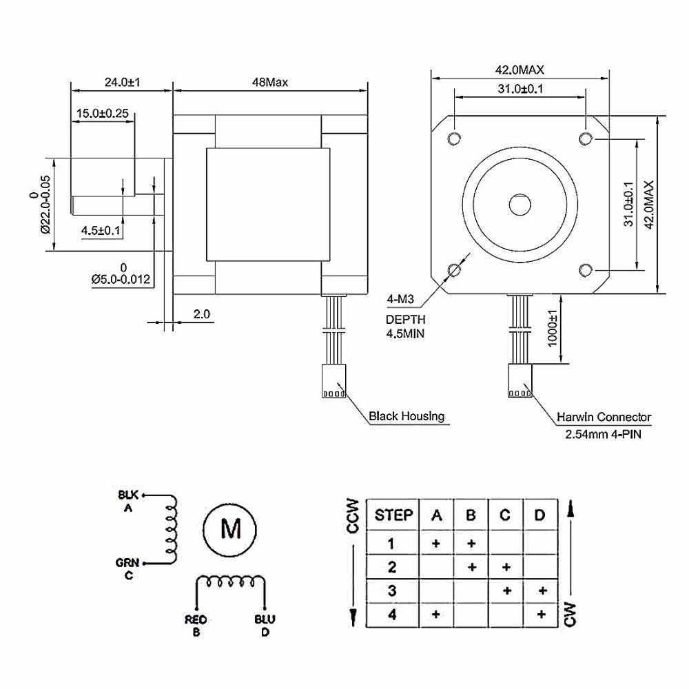 UXCELL NEMA 42 Stepper Motor Bipolar 4 Lead 5x15mm Shaft 4.7V 0.4A 0.22NM  3D Printer CNC Router Laser Lathe Machine DIY Hobby-in Stepper Motor from  Home ...
