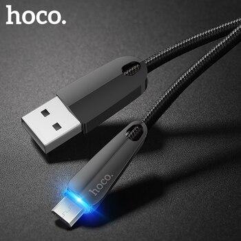 HOCO U35 Auto desconexión Cable Micro USB LED de carga rápida de datos sincronización Micro USB Cable para Samsung Xiaomi Huawei android