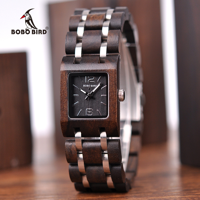 BOBO BIRD montre femme Wooden Womens Watches Top Fashion Square Dial Watch Collection for Ladies Stainless Steel Wristwatch S03